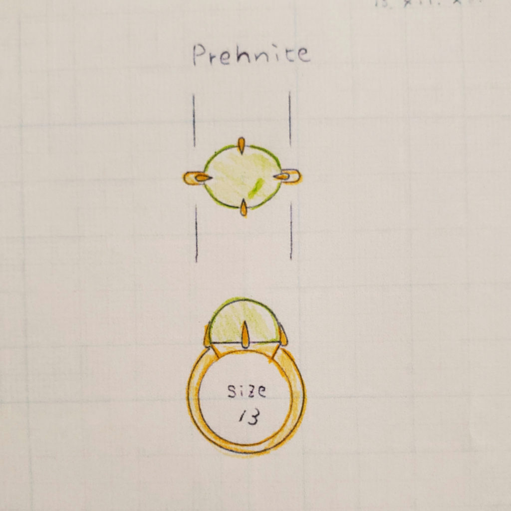 """お誕生日に、淡く緑に輝く""""迷わない""""お石「プレイナイト」の指輪【2121】"""